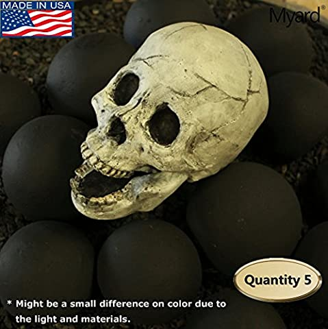 Myard DELUXE Log - Imitated Human Skull Fire Gas Log for Natural Gas / Liquid Propane / Wood Fire Fireplace & Fire Pit Halloween (Qty 5, - Deluxe Natural Gas Grill
