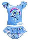 MetCuento Unicorn Swimsuit Girls Two Piece Bathing Suit Rainbow Summer Beach Tankini Set 2-8 Years