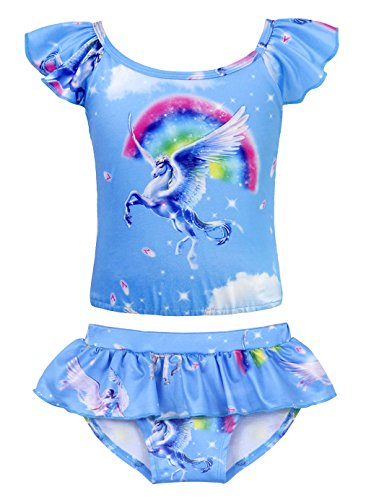 (HenzWorld Girls Two Piece Swimsuits Hawaiian Ruffle Unicorn Swimwear Beach Bathing Suit Size 4-5 Years)