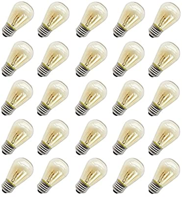 11 Watt Outdoor Light Bulbs, Rolay S14 Warm Replacement Bulbs for Outdoor Patio String Lights with E26 Base, Pack of 25