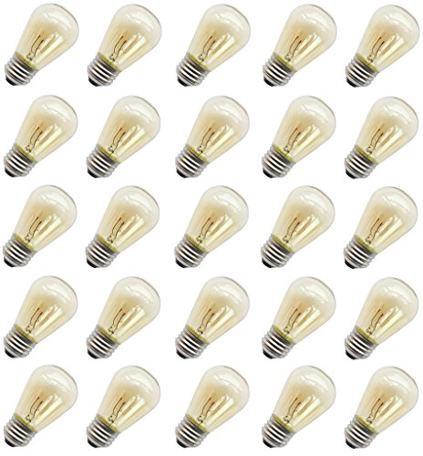 11 Watt Outdoor Light bulbs, Rolay S14 Warm Replacement Bulbs for Outdoor Patio String Lights with E26 Base, Pack of 25 ()