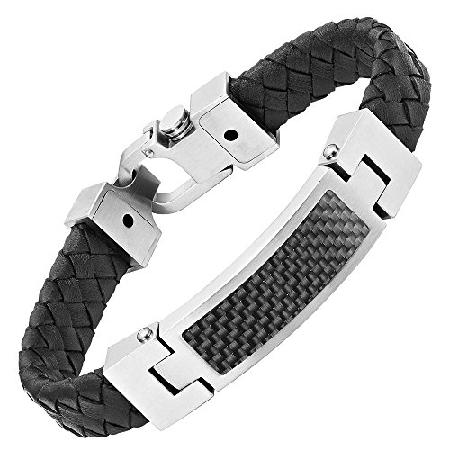Mens Black Leather Black Carbon Fiber Bracelet in Gift Box By Willis Judd