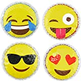Hot Cold Kids Emoji Boo Boo Ice Packs (4 Pack) by FOMI Care | Fun Children's Gel Bead Wrap | Pain Relief for Kids Injuries, Wisdom Teeth, Tired Eyes, Headaches | Reusable | 4 Inches Each