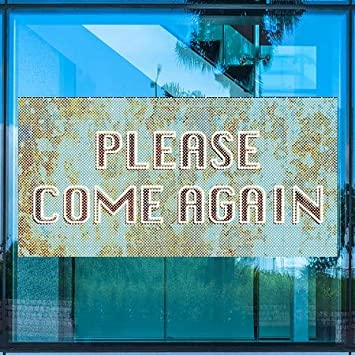 24x24 CGSignLab Please Come Again 5-Pack Nostalgia Stripes Perforated Window Decal