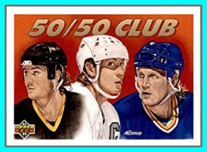 1991-92 Upper Deck #45 The 50/50 Club Mario Lemieux Penguins Wayne Gretzky Kings Brett Hull Blues (82e)