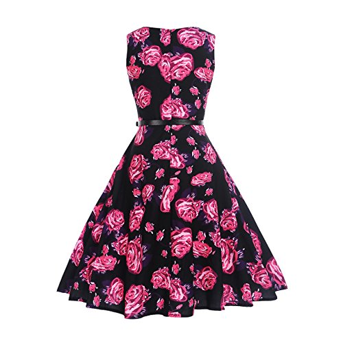Rockabilly with Erosebridal Women's Sleeveless O 1950s Dress Swing Belt Dress Vintage Tea FI4rxF8