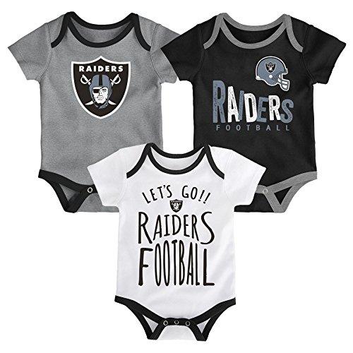 - NFL by Outerstuff NFL Oakland Raiders Newborn & Infant Little Tailgater Short Sleeve Bodysuit Set Black, 3-6 Months
