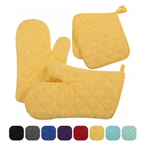 VEEYOO Cotton Oven Mitts Pot Holder Set Quilted Trivet Mats Kitchen Heat Resistant for Cooking Baking, Set of 4, Yellow