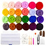 wet wool felting kits - Fuyit Wool Roving 24 Colors Needle Felting Wool Set Felt Tools Needle Felting Starter Kit Wool Fibre Hand Spinning DIY Craft Materials