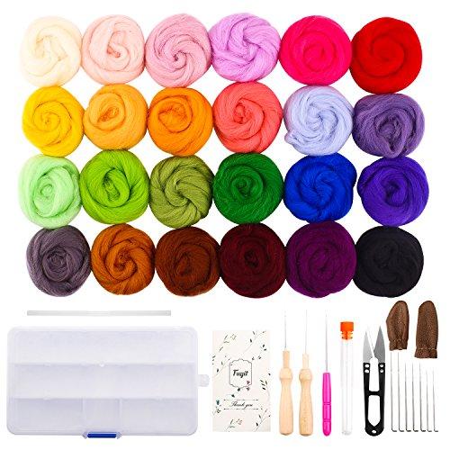 Fuyit Wool Roving 24 Colors Needle Felting Wool Set Felt Tools Needle Felting Starter Kit Wool Fibre Hand Spinning DIY Craft Materials by Fuyit