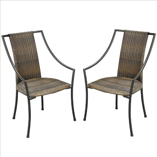 Laguna Brown Synthetic-Weave Arm Chair Pair by Home Styles ()