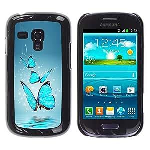 Be Good Phone Accessory // Dura Cáscara cubierta Protectora Caso Carcasa Funda de Protección para Samsung Galaxy S3 MINI NOT REGULAR! I8190 I8190N // Blue Butterfly Water Splash
