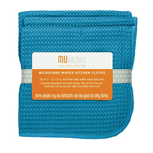 MUkitchen Microfiber Waffle Dishcloth, 12 by 12-Inches, Set of 3, Sea Blue ()