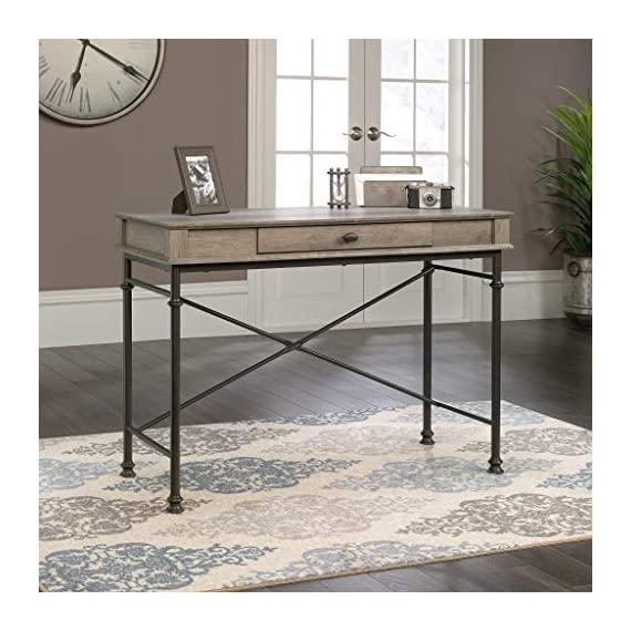 Sauder Canal Street Console Desk, Northern Oak finish - Drawer with flip-down front features full extension slides Finished on all sides for versatile placement Decorative, powder coated metal frame - writing-desks, living-room-furniture, living-room - 51R4 WMpzcL. SS570  -