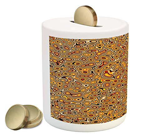 Ambesonne Psychedelic Piggy Bank, Abstract Hallucinatory Plasma Shapes with Ethnic Eastern Marbleized Print, Printed Ceramic Coin Bank Money Box for Cash Saving, Orange Brown (Marbleized Ceramic)