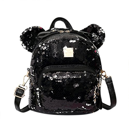 Women Girls Dazzling Sequins Backpack with Cute Ears Schoolbag Shoulder Bag Satchel by C.C-US
