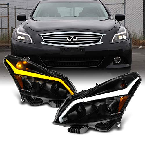 For 2010-2013 G37/G25 2015 Q40 Sedan New Exclusive Black Smoked LED Sequential LED Signal Tube Projector Headlights