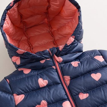 marc janie Little Boys Girls' Winter Pattern Printing Ultra Light Weight Down Jacket Blue Pink Love 3T (90 cm) by marc janie (Image #4)