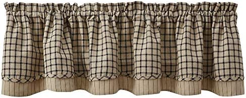 Park Designs Stoneboro Lined Layered Valance – Black