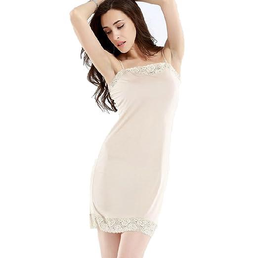 a4bc33e843eed Hoffen Womens 100% Silk Full Slips Dress Lace Petticoat Underdress:  Amazon.co.uk: Clothing