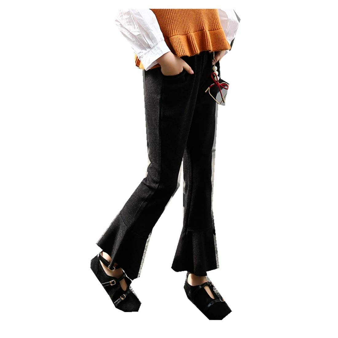 Autumn New Girls Korean Bell Mouth Pants Stripes West Body Pants Elastic Belt