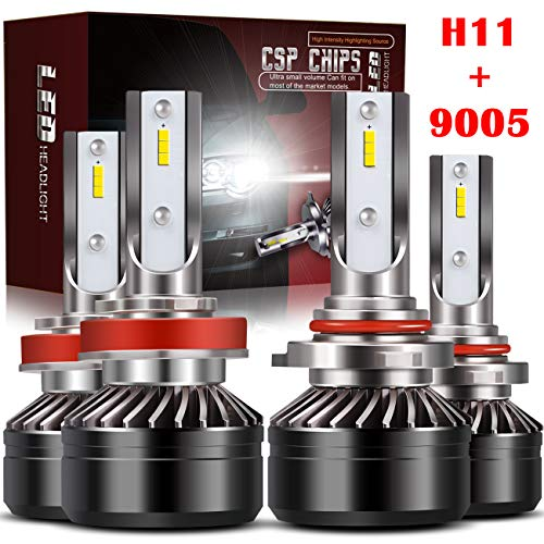 9005 High Beam + H11/H8/H9 Low Beam LED Headlight Bulbs Comobo Conversion Kit TURBO SII D6 Series CSP Chips Prime Led,12000LM 6000K Waterproof IP65 (4Pack,2 sets,Black)