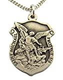 Silver Tone Saint Michael Protect Us Shield Shaped Medal, 1 Inch