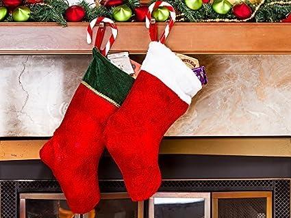imperial home red velvet christmas stockings 18 - Red Velvet Christmas Stockings