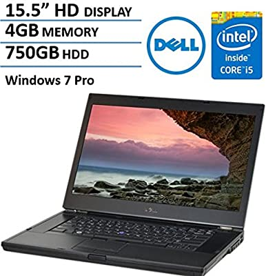 Dell Latitude E6510 15.6 Inch Business Laptop Computer, Intel Dual Core i5 2.4GHz CPU, 4GB RAM, 750GB HDD, DVDRW, VGA, Display Port, RJ45, Windows 7 Professional (Certified Refurbished)