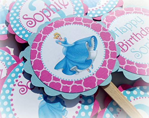 (12 - Cupcake Toppers - Cinderella Inspired Happy Birthday Collection - Hot Pink Quatrefoil, Baby Blue Polka Dots & White Accents - Party Packs Available)