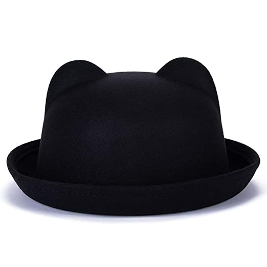 BIBITIME Women Bowler Top Hat Round Dome Cap Cat Ear Derby Hats Xmas Party  (One 1bf0aef0d63