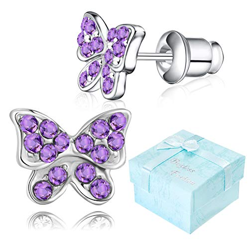 Buyless Fashion Girls Butterfly Stud Earrings Silver Surgical Stainless Steel - E100BTTNZ