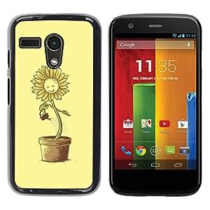 TECHCASE**Cubierta de la caja de protección la piel dura para el ** Motorola Moto G 1 1ST Gen I X1032 ** Sun Flower Pot Watering Can Yellow Happiness