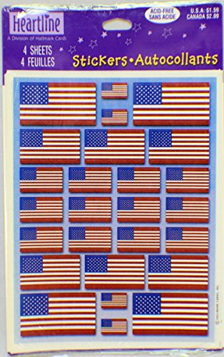 Hallmark Cards Heartline Vintage Freedom Flags USA US Sticker Pack 4 sheets new