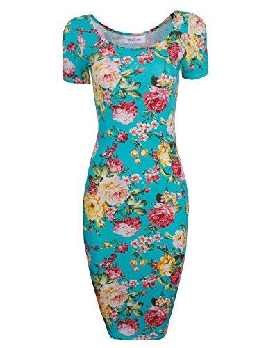 Tom's Ware Women's Sweetheart Short Sleeve Midi Dress TWCWD053-GREEN-US M