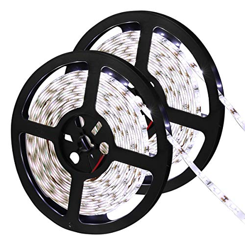 LE 12V LED Strip Light, Flexible, Waterproof, SMD 2835, 16.4ft Tape Light for Christmas, Home, Kitchen and More, Daylight White, Pack of 2
