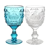 JustNile Antique Crown-Embossed Drinking Wine/Water Glass Embossed Goblets, Set of 2, Clear & Blue by JustNile