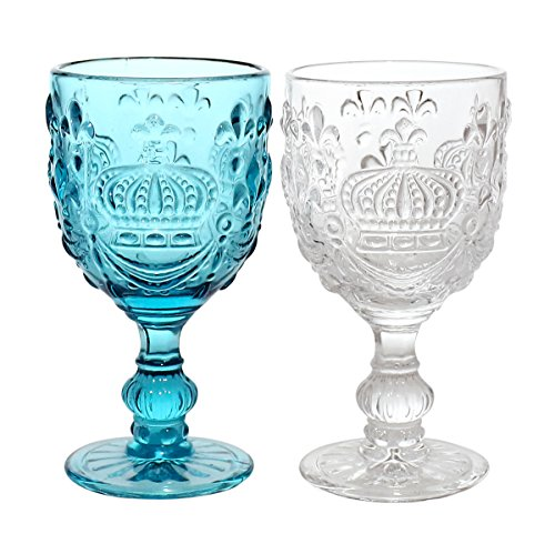 JustNile Antique Crown-Embossed Drinking Wine/Water Glass Embossed Goblets, Set of 2, Clear & Blue - Wine Glass Antique