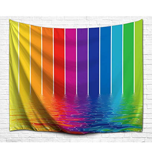 DENGYUE Color Lava Shower Curtain, Fabulous Light Beams Melting in Water Impressionism Soft Color Blending in Bath Tub Funny Shower Time Bathroom Decor No Mold Micro Fabric Bath - Curtain Rainbow Stripes