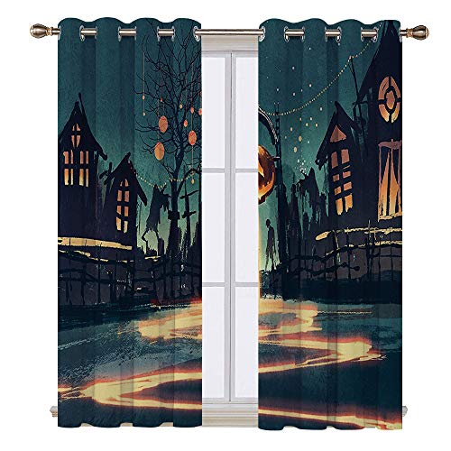 SATVSHOP Top and Bottom Curtains - 96W x 96L Inch- Blackout Draperies for Bedroom Living Room.Fantasy Art House Halloween Theme Night Pumpkin and Haunted House Ghost Town Artful Teal Orange. -