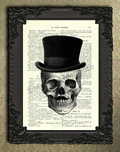Mister Skull with Top Hat Mustache Dictionary Art Print,