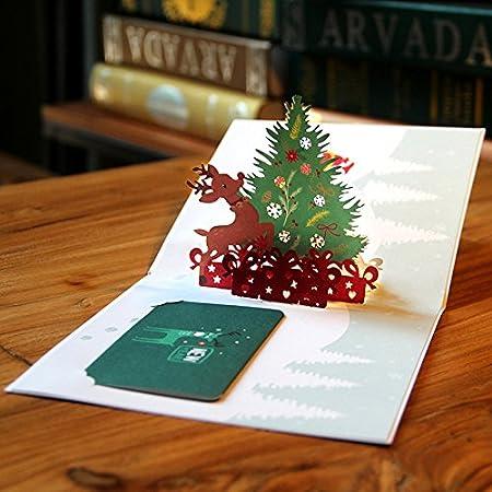 3d stéréo en forme de sapin de Noël Pop Up Carte de vœux, Lovely