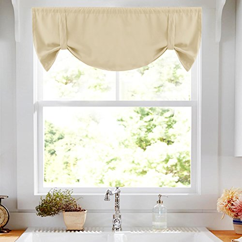 Lazzzy Window Room Darkening Valance Adjustable Tie up Shade Functional Thermal Insulated Window Treatment Curtains/Drapes (Beige, 1 Panels, 52W by 18L - Adjustable Window Valance