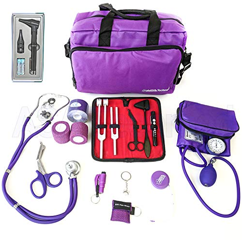 (ASATechmed Nurse Starter Kit Stethoscope Blood Pressure Monitor and More - 18 Pieces Total (Purple))