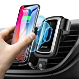 qi vent - Wireless Car Charger Mount, Qi Fast Charging Car Mount Gravity Air Vent Phone Holder Auto-clamping Car Adapter Phone Cradle for Samsung Galaxy S9/S9+ Plus/S8/S8+, iPhone X/8/8 Plus - Black