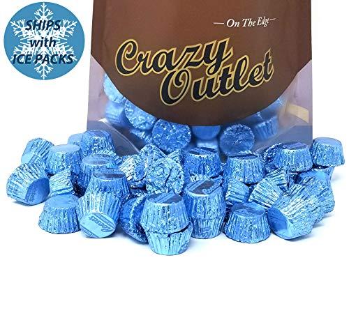 Reese's Light Blue Miniatures Peanut Butter Cups Milk Chocolate Candy Bulk, 2lbs - Foil Wrapped Peanut