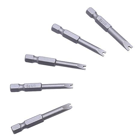 Starnearby Drillpro - 5 puntas magnéticas de destornillador hexagonal, 50 mm, forma de U
