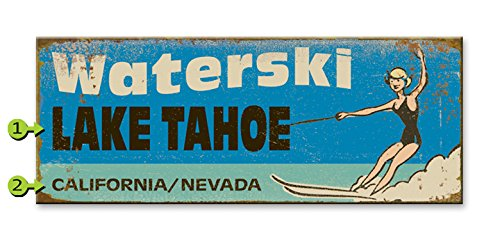 Waterski Wood Sign 17x44 (Sign Ski Water Wood)