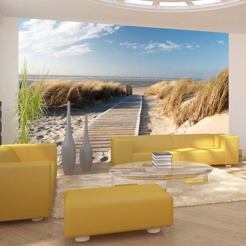 Vlies Tapete !!! Top !!! Fototapete !!! Wandbilder XXL !!! 450x270 cm - Strand ! Sand ! Wasser ! Natur ! Himmel ! Sommerferien ! Düne ! Sommer ! Wolken ! Blau ! Nordsee ! 100603-26