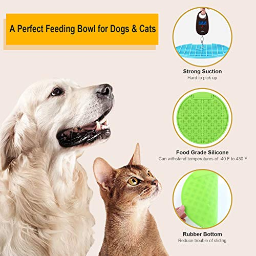 KASBAH Pet Lick Mat, 2 Pack Dog Lick Pad, Boredom Buster Slow Feeder Lick Mat Licking Mat Perfect for Pet Treats Anxious Relief for Fun and Healthy, Green+Orange